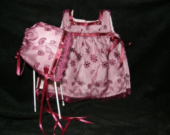 Infant Penafore and Bonnet Set Burgundy Embroidered Flowers Free Shipping
