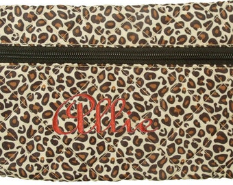 Personalized Quilted Cosmetic Case or Pencil Pouch Leopard