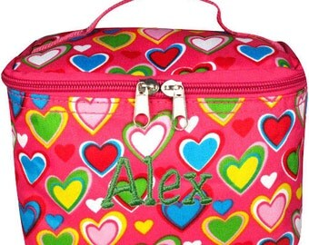 Personalized Cosmetic Case , Bag Pink & Multi-Color Heart Design