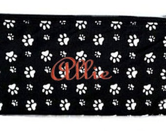 Personalized Cosmetic Case or Pencil Pouch Black with white Paw Prints
