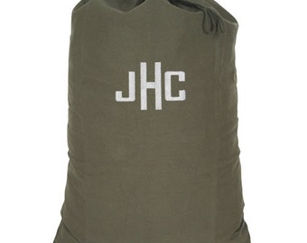 Personalized Dorm College Camp Laundry Bag Olive Drab Camo Print