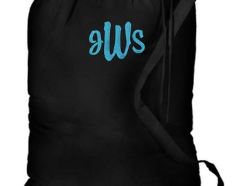 Personalized Dorm College Camp Laundry Bag Black