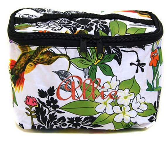 Personalized Cosmetic Case , Bag White Floral Print Design Free Shipping