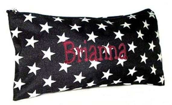 Personalized Cosmetic Case or Pencil Pouch Black with White Stars Free Shipping
