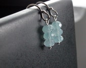 Aquamarine and Sterling Silver dangle earrings Faceted genuine gemstone Natural stone Casual pretty Sky blue earrings March birthstone