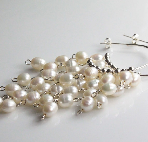 Sterling Silver Pearl earrings. Ivory freshwater pearl earrings large Dangle earrings hoop earrings Creamy white bold bridal wedding jewelry