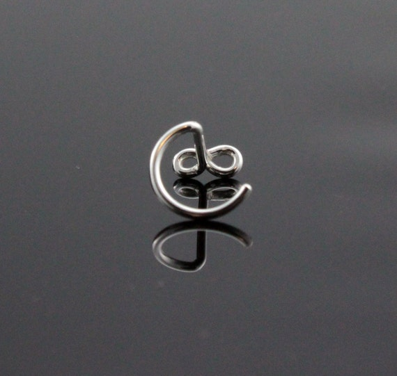 Sterling Silver nose stud nose ring Small infinity symbol Screw