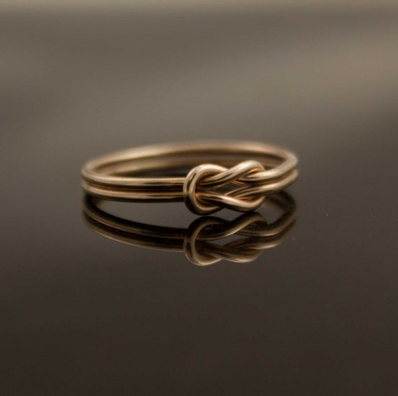Solid 14K Gold Infinity knot ring Hug ring Alternate wedding ring, engagement, commitment ring promise ring same sex nautical jewelry