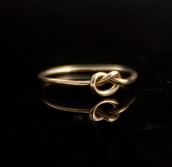 RESERVED: Solid gold and Silver ring set. Two love knots. 14K Gold ring Sterling Silver infinity ring Promise ring Simple ring
