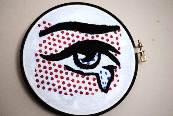 pop goes the art hand embroidered lichtenstein by
