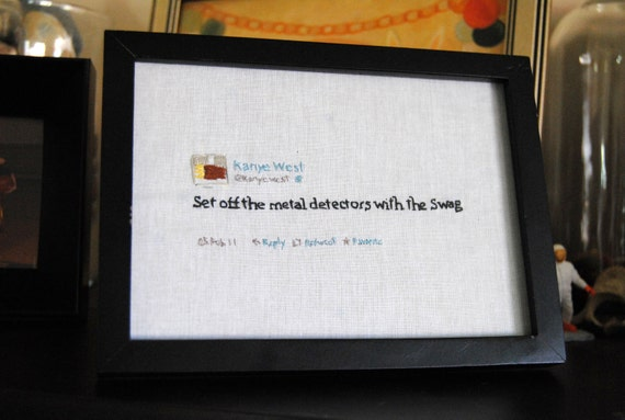 "OOAK Hand-Stitched Kanye West ""Swag"" Tweet"