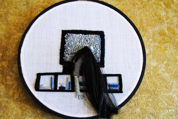 Don't Sit Too Close To The TV - OOAK Embroidery - The Ring