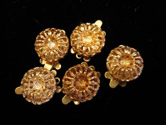 5 Vintage Fancy Copper Haskell-style Filigree Jewelry Necklace Bracelet Clasps for Beading Destash