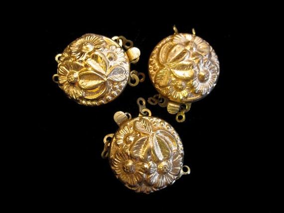 Destash Set of 3 Vintage Fancy Gold Brass Floral Haskell Repousse Clasp Jewelry Necklace Bracelet
