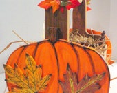 Pumpkin Basket with Fall Leaves