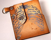 Leather Wallet Card Holder Brown Distressed with Ribs