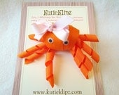 SALE - Clementine the Orange Octopus - Hair Clip, Ribbon Sculpture, Ribbon Art, Hair Bow, Hairbow