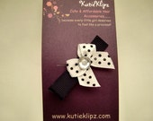 NEW...Classic Black and White Polka Dotted Tiny Bow Hair Clip - 99cents - HM141