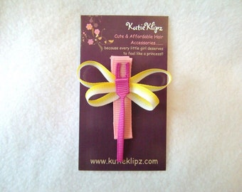 SALE - Pink Sunshine Dragonfly 3D Ribbon Sculpture, Hair Clip, Hairclip, Hair bow, Hairbow, Hair Accessory