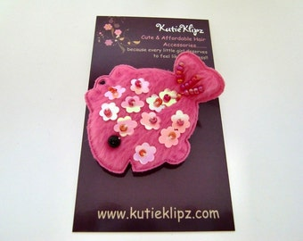 SALE - Hot Pink Sequin and Beaded Fish Hair Clip, hairclip, hair accessory...1.99 - HM89HP