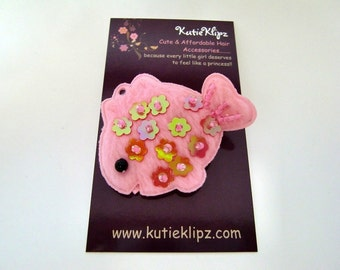 SALE - Light Pink Sequin and Beaded Fish Hair Clip...1.99 - HM89P
