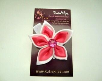 SALE - Elegant Hot Pink and White 2 tone Satin Flower Clip, Hair Clip, Hairclip, Hairbow, Hair Bow, Hair Accessory - HM29