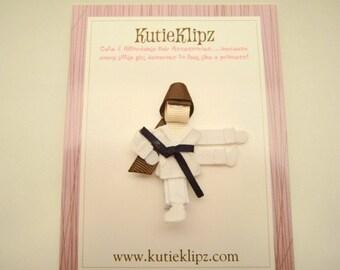 SALE - Karate Girl Ribbon Sculpture Hair Clip ...Hair Accessory ...Hair bow