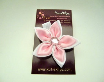 SALE - Elegant Pink and White Satin Flower Clip....1.49, Hair clip,Hairclip,Hairbow,Hair Bow,Hair Accessory - HM30