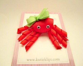 SALE - Poppy the Red and Green Octopus - Ribbon Sculpture Hair Clip - Hair Accessory - Hairbow