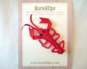 SALE - Garnett the Red Lobster and Crayfish Hairclip ...Hair accessory ..3DRibbon Scupture
