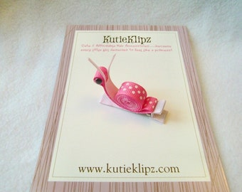 SALE - Sally the Freckled Pink and White Snail Hair clip, Hairclip, Hair bow, Hairbow, Hair accessory