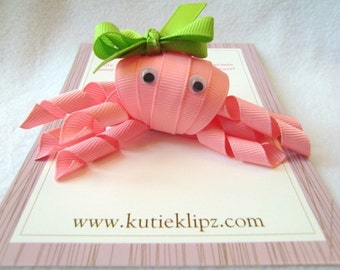 SALE - Coral the Pink Octopus - Ribbon Sculpture Hair Clip