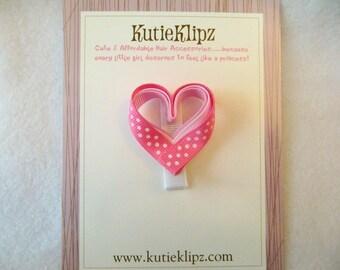 SALE....Pink Triple Freckled Heart Hair Clip...Ribbon Scultpure, Hairclip, Hair Accessory, Clippie, Barrette