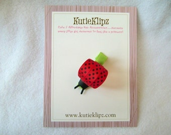 SALE...Fly Away Home Ladybug Hair Clip...Ribbon Sculpture,Hairclip, Hair Accessory, barrette