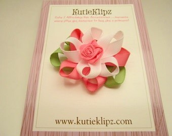 SALE - Fancy Flower Strawberry Sherbert  - Ribbon Sculpture Hair Clip - Hair Accessory - Hairbow