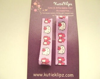 Everyday Purple and Pink M2M Kitty Cat Printed Hair Clips - Set of 2 for - 1.25 DOLLAR Hair Accessory, Party Favor - D06