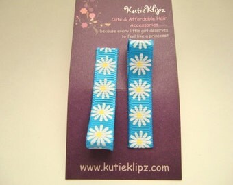 Everyday Turquoise Blue Daisy Flower Clips - Set of 2.....99cents