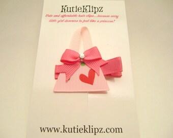 SALE....Pretty Pink Purse and Handbag Hair Clip ...Ribbon Sculpture,Hairclip,Hair Accessory,Hairbow,Clippie