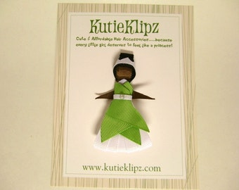 SALE...The Princess and the Frog - Tiana Disney Princess Inspired Ribbon Sculpture Hair Clip ...Hair Accessory ...Hairbow