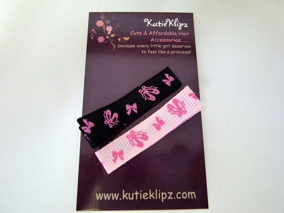 Everyday Pink and Black Ballerina Hair Clips, Hair bow - Set of 2