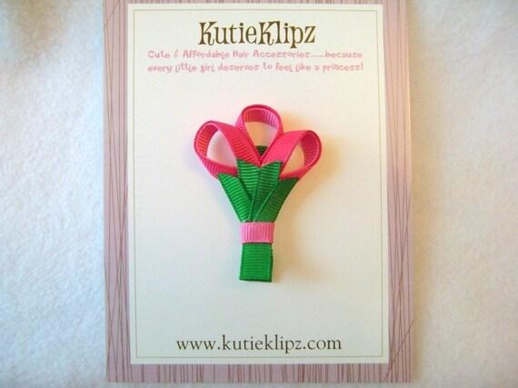 SALE - Special Bouquet of Flowers Hair Clip, Hair Accessory, 3D Ribbon Sculpture, Hair Bow
