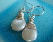 Wire Wrapped Coin Pearl Earrings