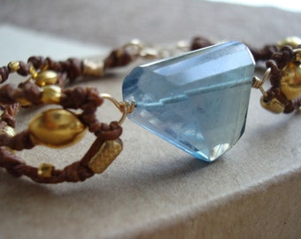 Clearance Sale - Flourite and Gold on Linen Bracelet