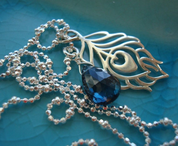 London Blue Topaz Necklace, Peacock Necklace, Peacock Feather Necklace