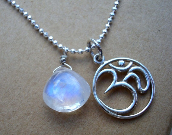 Om Moonstone Necklace on Sterling Silver