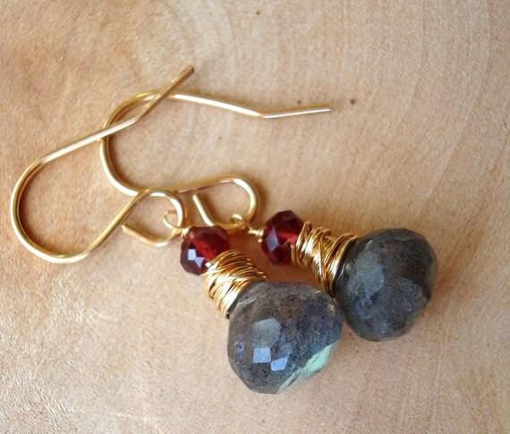 Labradorite, Garnet and Gold Earrings