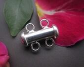 1pc 925 sterling silver 2-strand Slide Lock Tube Clasp 15mm,Gemstone Beads Pro