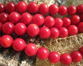 3 str- A Grade Bamboo Red Coral 8mm Round Beads- 67pcs/Strand