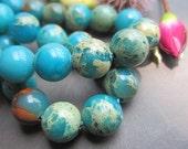 5 strands -Blue Serpentine Jasper 8mm round loose beads-- 50pcs Full Strand
