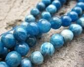 Organic Natural Peacock Blue Apatite 6mm Round Ball Beads-- 64pcs Full Strand